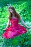 красный цвет princess платья Стоковые Изображения RF