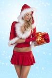 красный цвет santa девушки подарка claus коробки Стоковые Изображения