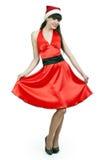 красный цвет santa шлема девушки платья Стоковое фото RF