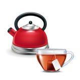 Красный чайник при изолированная чашка чая Бесплатная Иллюстрация