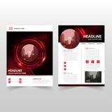 Красный черный дизайн шаблона рогульки брошюры листовки годового отчета вектора технологии, дизайн плана обложки книги Стоковая Фотография RF