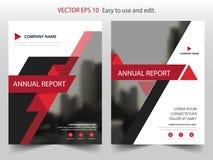 Красный черный дизайн шаблона рогульки брошюры листовки годового отчета вектора треугольника, дизайн плана обложки книги, абстрак Стоковое Изображение