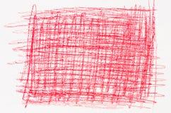 Красный чертеж crayon на белой бумаге Стоковое фото RF