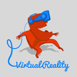 Красный человек в голубых касках виртуальной реальности Стоковое Фото