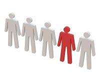 Красный человек стоя в ряд. Стоковое фото RF