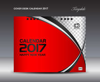 Красный шаблон дизайна настольного календаря 2017 крышки, Calendar 2017 год иллюстрация вектора