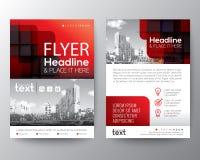 Красный шаблон дизайна плаката рогульки крышки брошюры Стоковая Фотография
