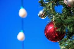Красный шарик вися на рождественской елке как украшение на предпосылке голубого неба и фонариков стоковые фотографии rf