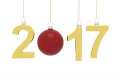 Красный шарик рождества с золотыми числами 2017 на белой предпосылке Стоковая Фотография