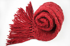 Красный шарф на белой предпосылке Стоковые Изображения RF