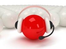 Красный шар с шлемофоном и белыми шариками Стоковые Фотографии RF