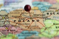 Красный штырь на Польше стоковые изображения rf
