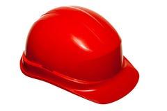 Красный шлем безопасности работника здания построителя изолированного на белизне Стоковое Фото