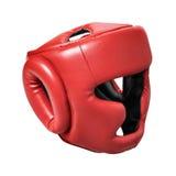 Красный шлем для класть в коробку Стоковая Фотография