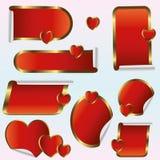 Красный ярлык само-ручки с золотой границей иллюстрация штока