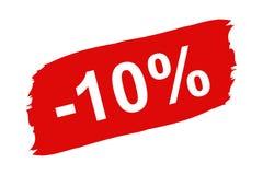 Красный ярлык скидки 10 процентов - установленный Brushstroke - иллюстрация вектора - изолированная на белизне Стоковые Фото