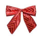 Красный Checkered смычок Стоковое Изображение
