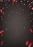 Красный confetti изолированный на прозрачной предпосылке иллюстрация штока