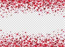 Красный confetti сердца летания Стоковая Фотография