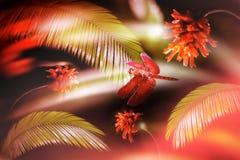 Красный dragonfly на предпосылке папоротника и красных цветков Природа дождевого леса Стоковые Фотографии RF