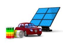 Красный electro автомобиль на белой предпосылке Изолированная иллюстрация 3d Стоковые Фото