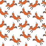 Красный Fox Безшовная предпосылка картины вектора Стоковое фото RF