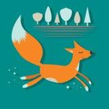 Красный Fox с бегом закрытым глазами Стоковое фото RF