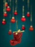 Красный glittery ботинок рождества Стоковое Изображение