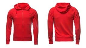 Красный hoodie, модель-макет фуфайки, изолированный на белой предпосылке Стоковая Фотография RF
