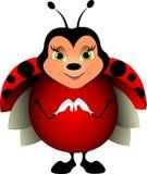 Красный ladybug со слепыми пятнами на усмехаться крыльев иллюстрация штока
