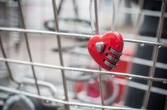 Красный padlock в форменном сердце на металлической решетке Стоковые Фото