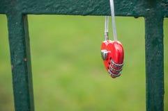 Красный padlock в форменном сердце на металлической решетке Стоковое Изображение RF