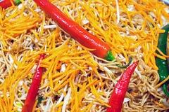 Красный peperoni с тайской едой Стоковое Фото