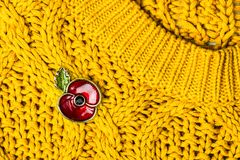Красный Pin мака как символ день памяти погибших в первую и вторую мировые войны Стоковые Фотографии RF