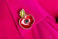 Красный Pin мака как символ день памяти погибших в первую и вторую мировые войны Стоковые Фото