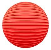 Красный striped шарик украшения Стоковое Изображение