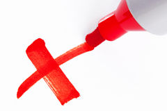 Красный x нарисованный с ручкой отметки Стоковое фото RF