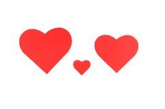 3 красных бумажных сердца, концепция семьи Стоковые Фотографии RF
