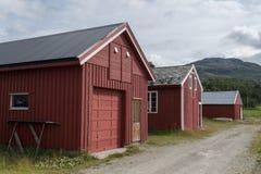 3 красных деревянных дома шлюпки Стоковая Фотография RF