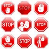 9 красных знаков стопа Стоковые Фотографии RF