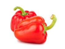 2 красных зрелых сладостных перца Стоковые Изображения RF
