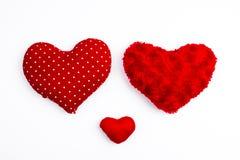 3 красных изолированного сердца валентинки Стоковое Изображение