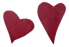 2 красных кожаных изолированного сердца Стоковое Изображение