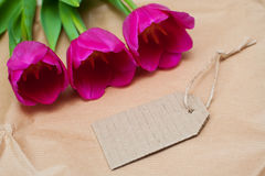 3 красных красивых тюльпаны и бирки на деревянной предпосылке Стоковое Изображение