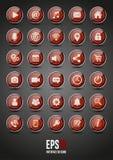 30 красных лоснистых значков интерфейса бесплатная иллюстрация