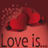 2 красных объемных сердца Стоковые Фото