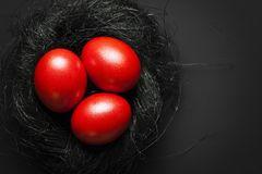 3 красных пасхального яйца в гнезде Стоковые Изображения