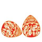 2 красных пасхального яйца с орнаментом бело-золота флористическим на белой предпосылке иллюстрация вектора