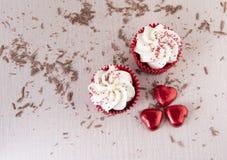 2 красных пирожного бархата с шоколадом брызгают Стоковая Фотография