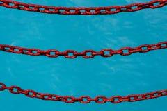 3 красных покрашенных цепи как барьер к падать в ледниковое плавят голубой океан, как предпосылка стоковое изображение
